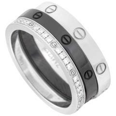Cartier 18 Karat White Gold and Ceramic Diamond Love 3-Ring Set