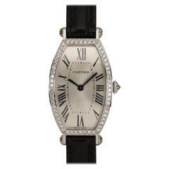 Cartier 18 Karat White Gold and Diamond Manual Wind Watch with Guilloche Dial