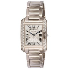 Cartier 18 Karat White Gold and Diamonds Tank Anglaise Medium WT100028