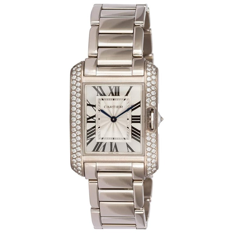 Cartier 18 Karat White Gold and Diamonds Tank Anglaise Medium WT100028 For Sale
