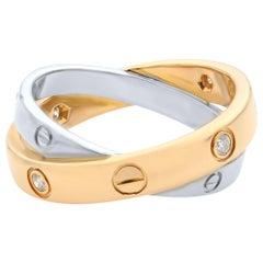 Cartier 18 Karat White Gold and Rose Gold Six Diamonds Love Ring