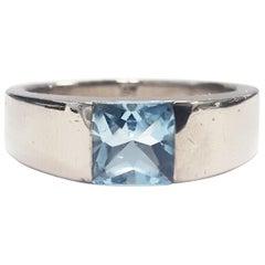 Cartier 18 Karat White Gold Aquamarine Tank Ring