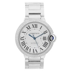 Cartier 18 Karat White Gold Ballon Bleu Diamond Bezel Box and Papers