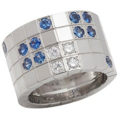 Cartier 18 Karat White Gold Blue Sapphire and White Diamond Lanieres Band Ring
