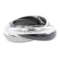 Cartier 18 Karat Weißgold Keramik- und Diamant Trinity Ring