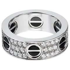 Cartier 18 Karat White Gold Ceramic Love Diamond-Paved Ring