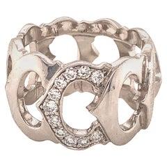 Cartier 18 Karat White Gold Diamond C Logo Ring