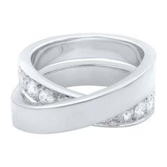 Cartier 18 Karat White Gold Diamond Criss-Cross Ring