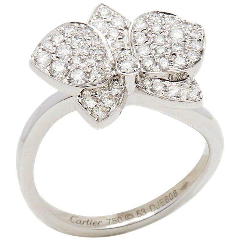 c439ca2541ac7 Cartier 18 Karat White Gold Diamond D'Orchidées Par Cartier Flower Ring