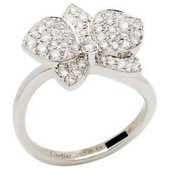 Cartier 18 Karat White Gold Diamond D'Orchidées Par Cartier Flower Ring