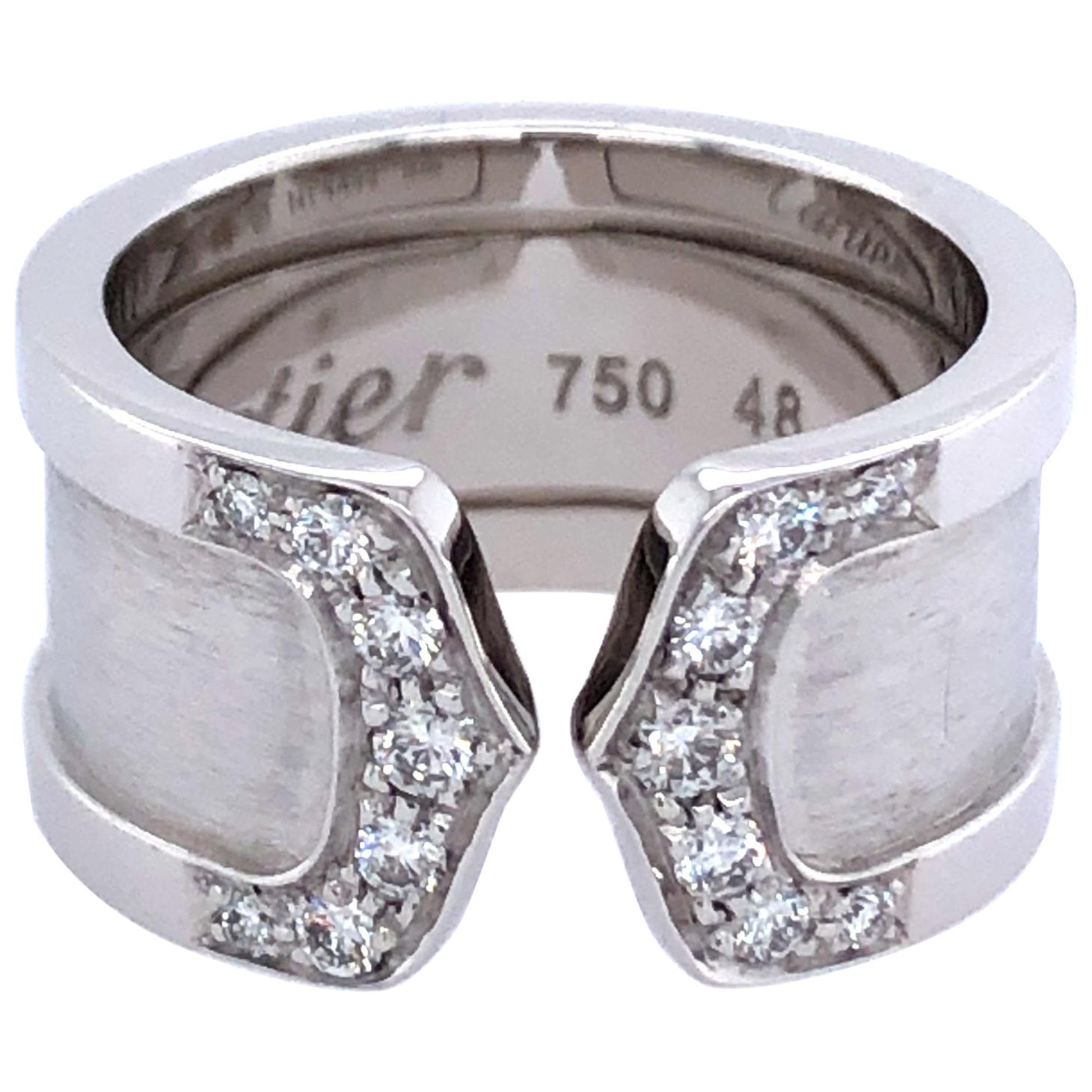 Cartier 18 Karat White Gold Diamond Double C Ring