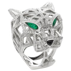 Cartier 18 Karat White Gold Diamond, Emerald and Onyx Large Panthère Ring