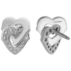 Cartier 18 Karat White Gold Diamond Interlocking Hearts Earrings