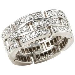 Cartier 18 Karat White Gold Diamond Maillon Panthère Band Ring