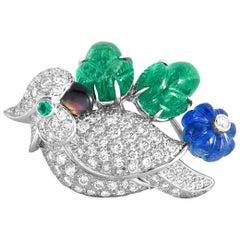 Cartier 18 Karat White Gold Diamond Pave, Emerald and Sapphire Bird Pendant
