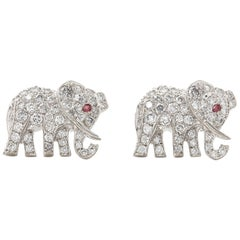 Cartier 18 Karat White Gold Diamond and Ruby Elephant Bespoke Stud Earrings