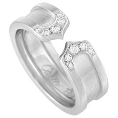 Cartier 18 Karat White Gold Double C Diamond Ring