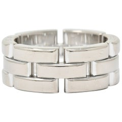 Cartier 18 Karat White Gold French Maillon Panthere Band Ring
