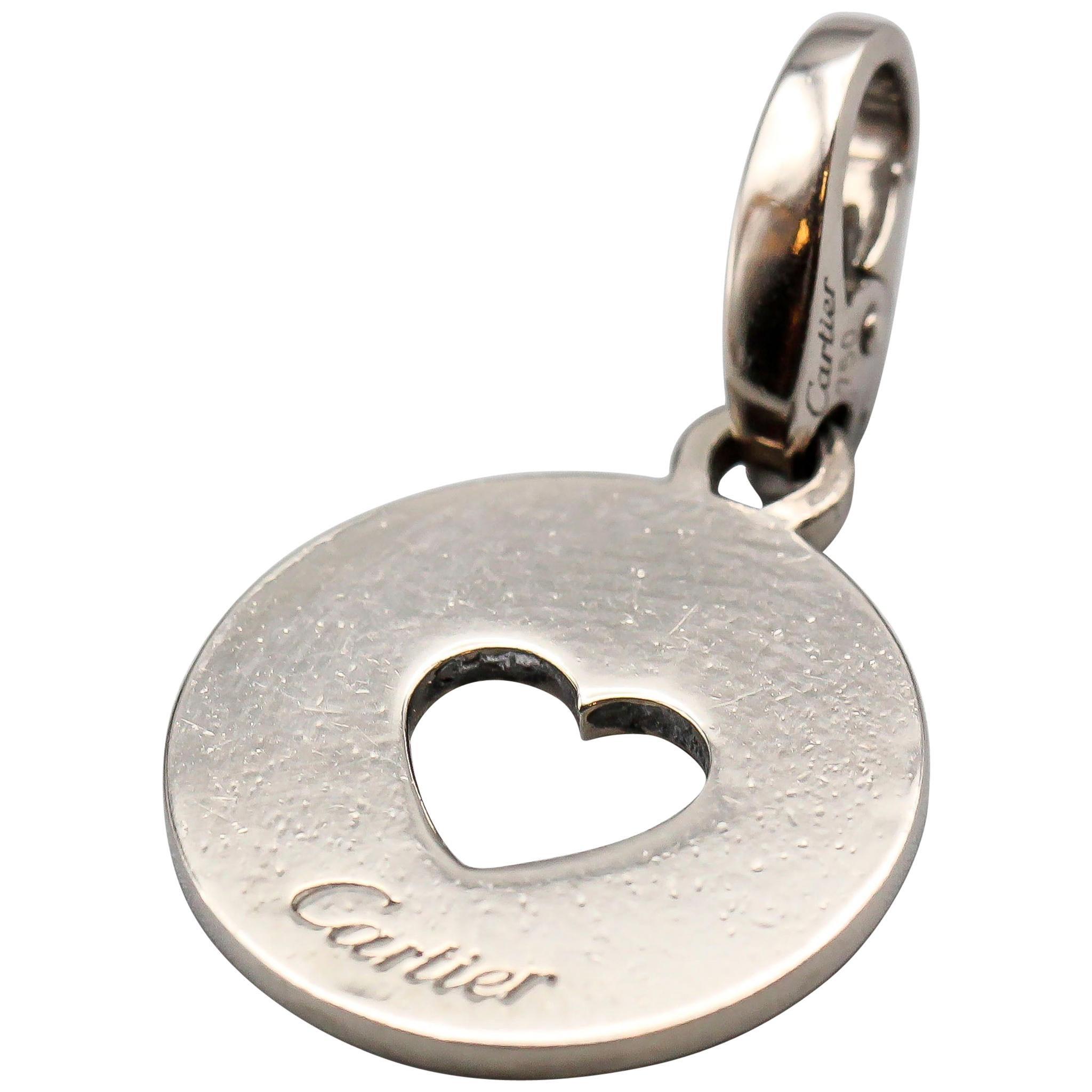 Cartier 18 Karat White Gold Heart Round Charm