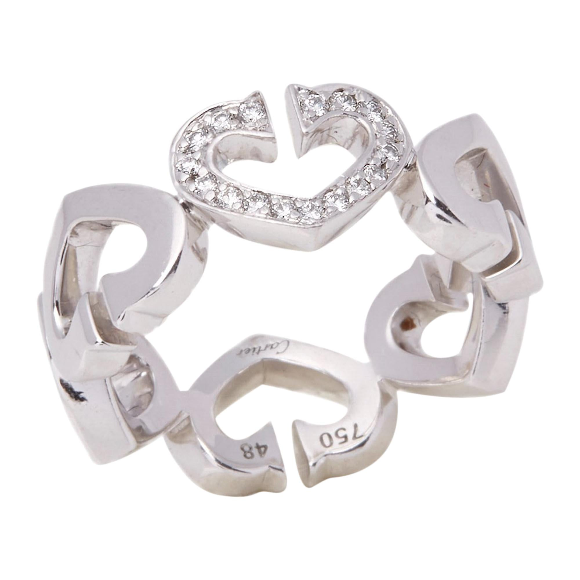 Cartier 18 Karat White Gold Hearts and Symbols Ring