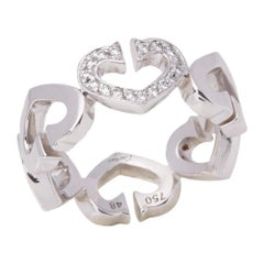 Cartier 18 Karat White Gold Hearts and Symbols Ring