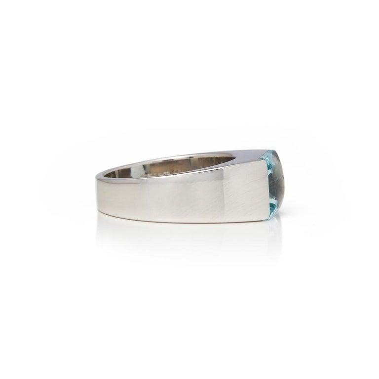 Modern Cartier 18 Karat White Gold Large Aquamarine Tank Cocktail Ring For Sale