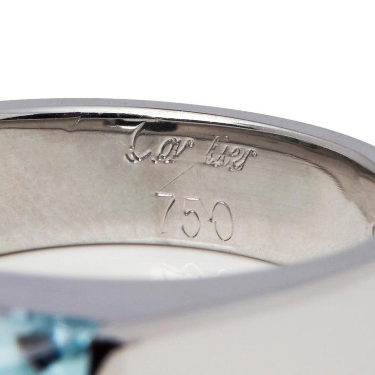 Cartier 18 Karat White Gold Large Aquamarine Tank Cocktail Ring For Sale 1
