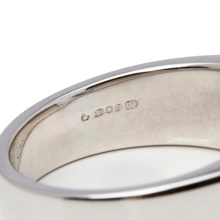 Cartier 18 Karat White Gold Large Aquamarine Tank Cocktail Ring For Sale 3