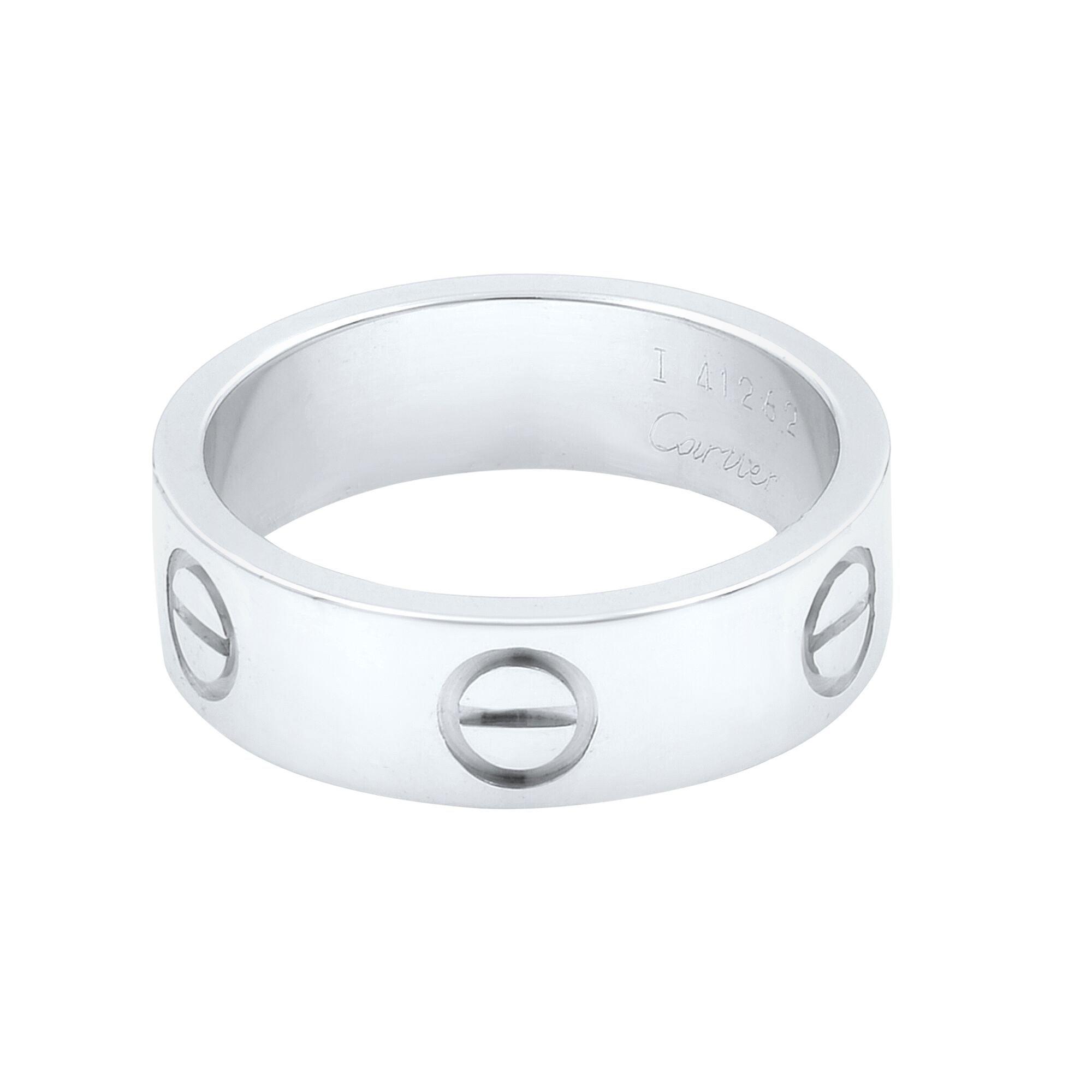 Cartier 18 Karat White Gold Love Band Ring