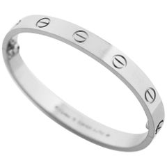 Cartier 18 Karat White Gold Love Bracelet Bangle New Style