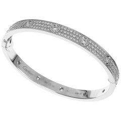 Cartier 18 Karat White Gold Love Bracelet Diamond Paved Bangle