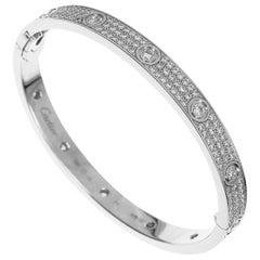 Cartier 18 Karat White Gold Love Bracelet Diamond Paved Bangle