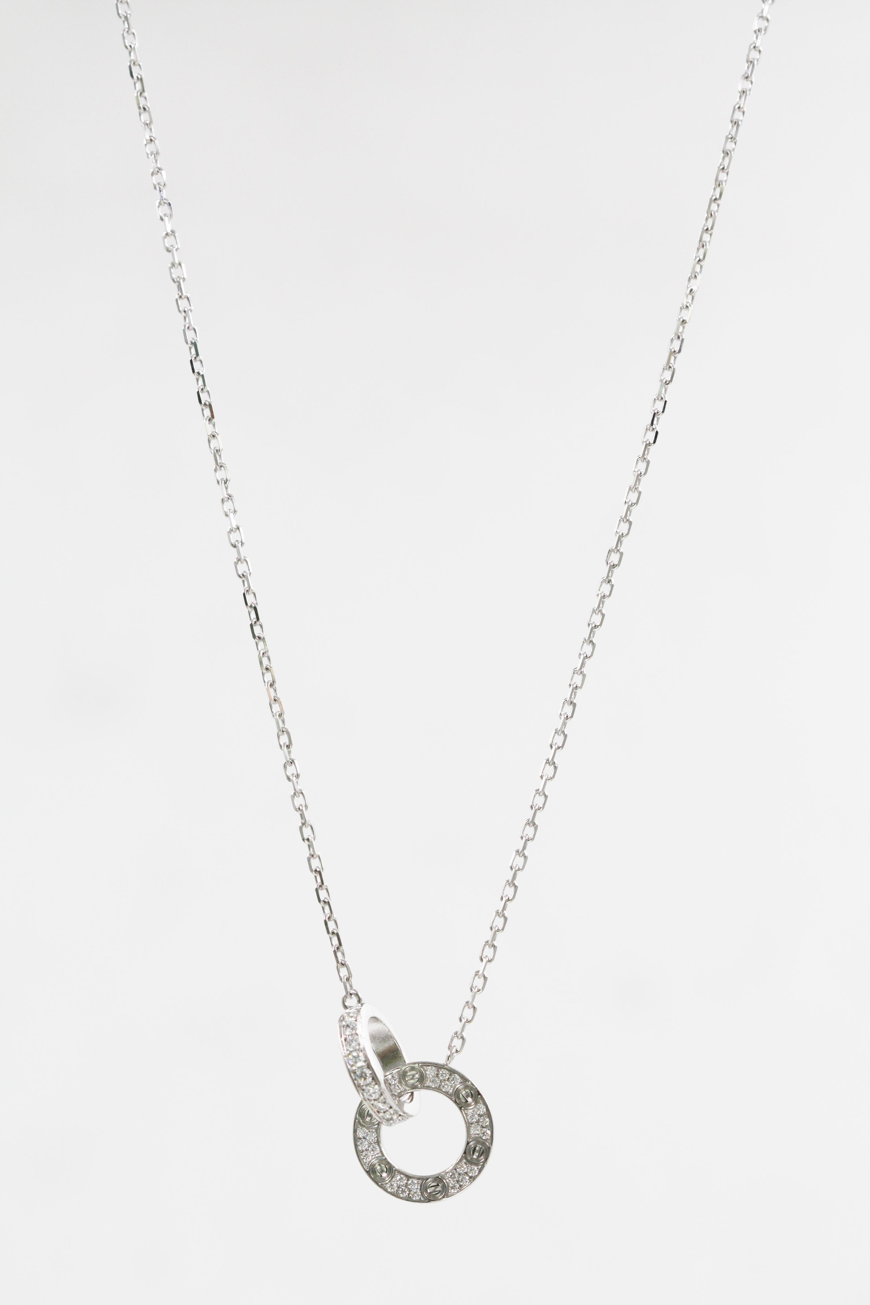 53c57b914ff0b8 Cartier 18 Karat White Gold Love Necklace, Diamond-Paved For Sale at 1stdibs