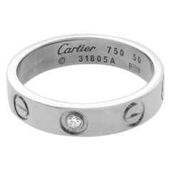 Cartier 18 Karat White Gold Love One Diamond Wedding Band