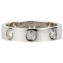 Cartier 18 Karat White Gold Love Wedding Band 8 Diamonds Ring