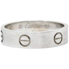 Cartier 18 Karat White Gold Men's Vintage Love Band Ring