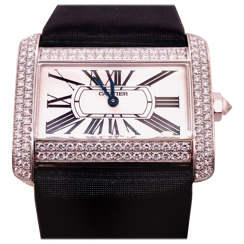 Cartier 18 Karat White Gold Mini Tank Divan Watch Diamond Paved Case