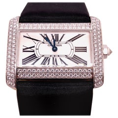 Cartier 18 Karat White Gold Mini Tank Divan Watch Diamond Paved Case