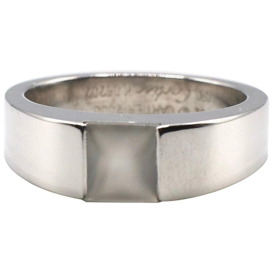Cartier 18 Karat White Gold Moonstone Tank Ring
