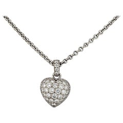 Cartier 18 Karat White Gold Pave Diamond Heart on a Chain Pendant