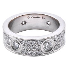 Cartier 18 Karat White Gold Pave Diamond Love Ring