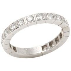 Cartier 18 Karat White Gold Round Cut Diamond Lanieres Band Ring