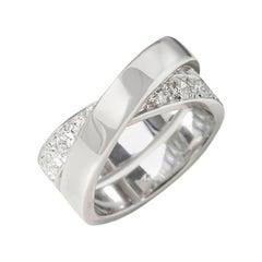 Cartier 18 Karat White Gold Round Cut Diamond Paris Nouvelle Vague Ring