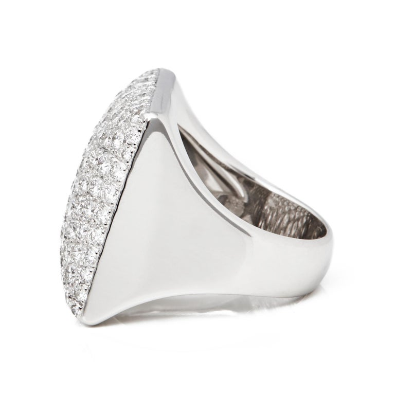 Modern Cartier 18 Karat White Gold Round Cut Diamond Square Berlingot Cocktail Ring For Sale