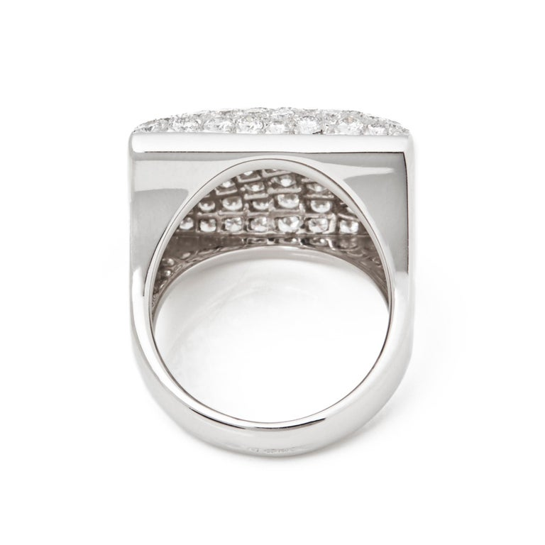 Women's Cartier 18 Karat White Gold Round Cut Diamond Square Berlingot Cocktail Ring For Sale