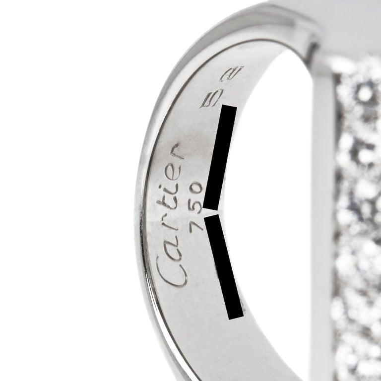 Cartier 18 Karat White Gold Round Cut Diamond Square Berlingot Cocktail Ring For Sale 1