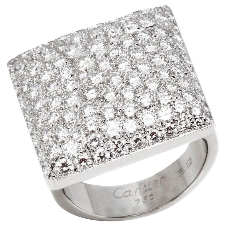 Cartier 18 Karat White Gold Round Cut Diamond Square Berlingot Cocktail Ring For Sale