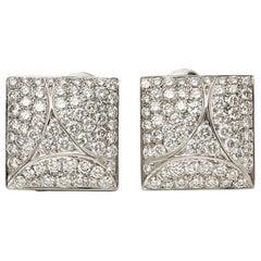 Cartier 18 Karat White Gold Round Cut Diamond Square Berlingot Earrings