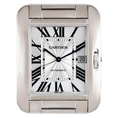 Cartier 18 Karat White Gold Silver Flinque Roman Dial Tank Anglaise XL W5310025
