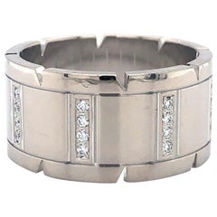 Cartier 18 Karat White Gold Tank Francaise Band Ring with Diamonds